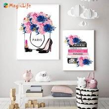 Модный Парижский бренд настенная Картина на холсте книга с цветами