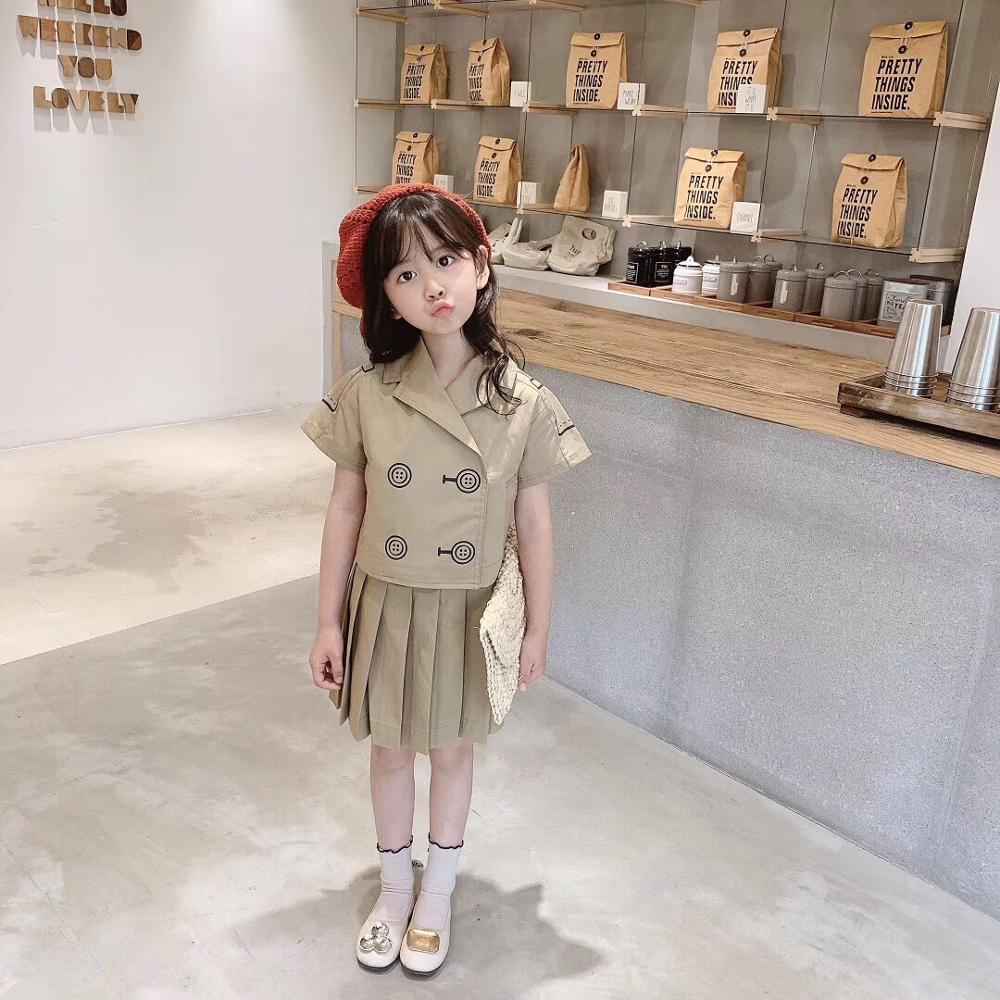 2020 Girls Set Summer Khaki Color Tops +skirt Fashion Toddler Kids Clothing Set