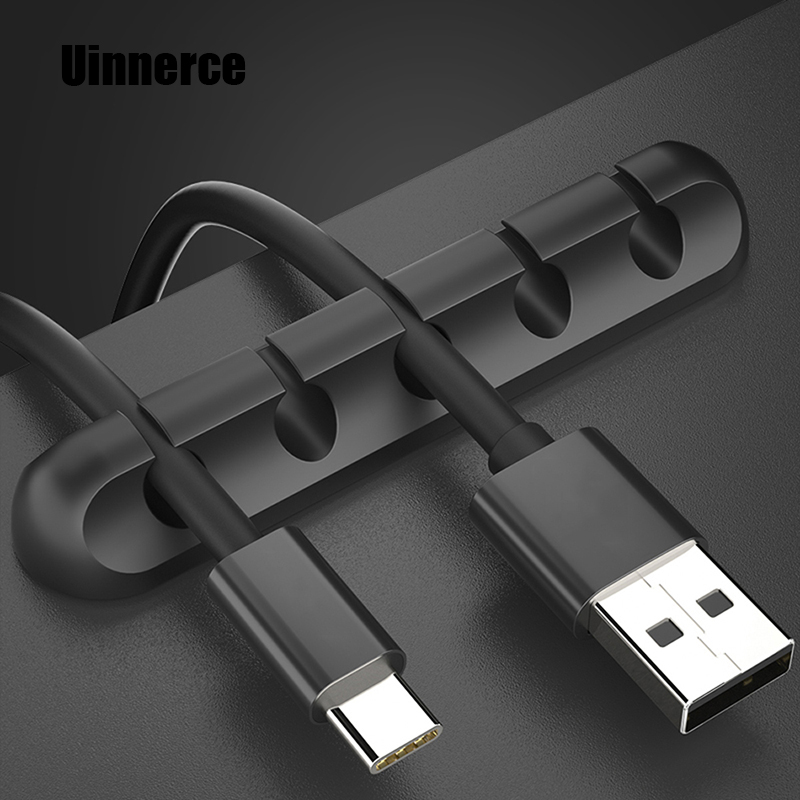 USB Cable Organizer PC Cable Wire <font><b>Holder</b></font> For Mouse Headphone <font><b>Earphone</b></font> Phone Charger Cord Protector Cable Winder Management Clips image