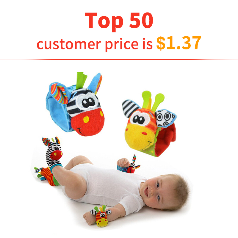 2pcs/price Newborn 0~24 Months Baby Socks Animal Foot Socks Rattles Toys Developmental Soft Wrist Toys Socks Plus Hand Bell