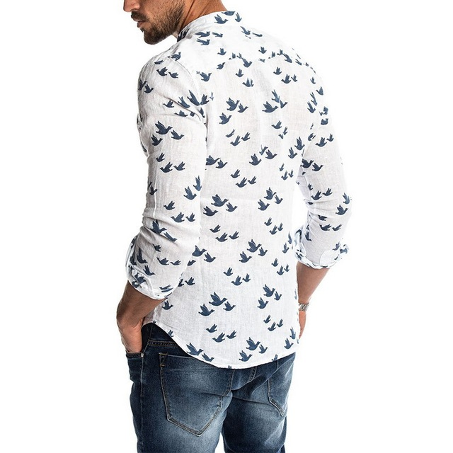 Oeak Hawaiian Shirt Long Sleeve Wild Goose Print Button Linen Shirts Summer Camisas Hombre Mens Shirts Casual Slim Fit Blusa New 4