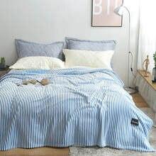 Bonenjoy xadrez para sofá listrado cor azul flanela coral velo cobertores para camas único/rainha/king size quente grosso thow cobertor