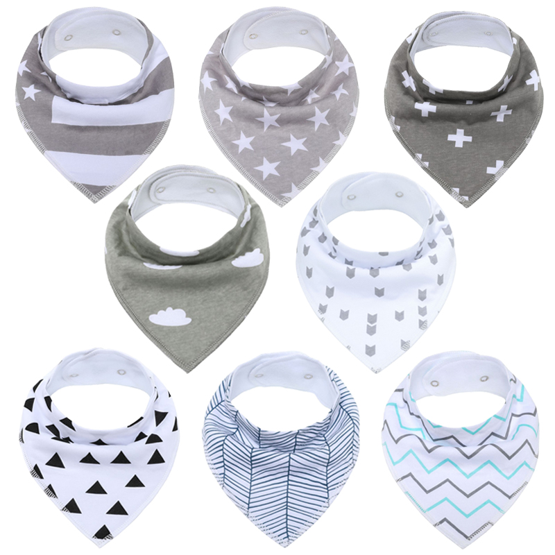 100%Organic-Cotton Baby Bibs Baby-Bandana Comfortable Saliva Infant Girls Snaps Adjustable