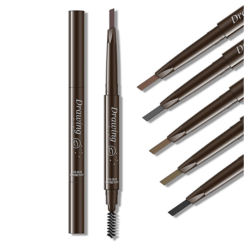 6pcs Double Ended Super Slim <font><b>Eyebrow</b></font> Pencil & <font><b>Eyebrow</b></font> Brush Waterproof Long Lasting Black Brown <font><b>Eyebrow</b></font> <font><b>Tatoo</b></font> <font><b>Pen</b></font> Cosmetics image