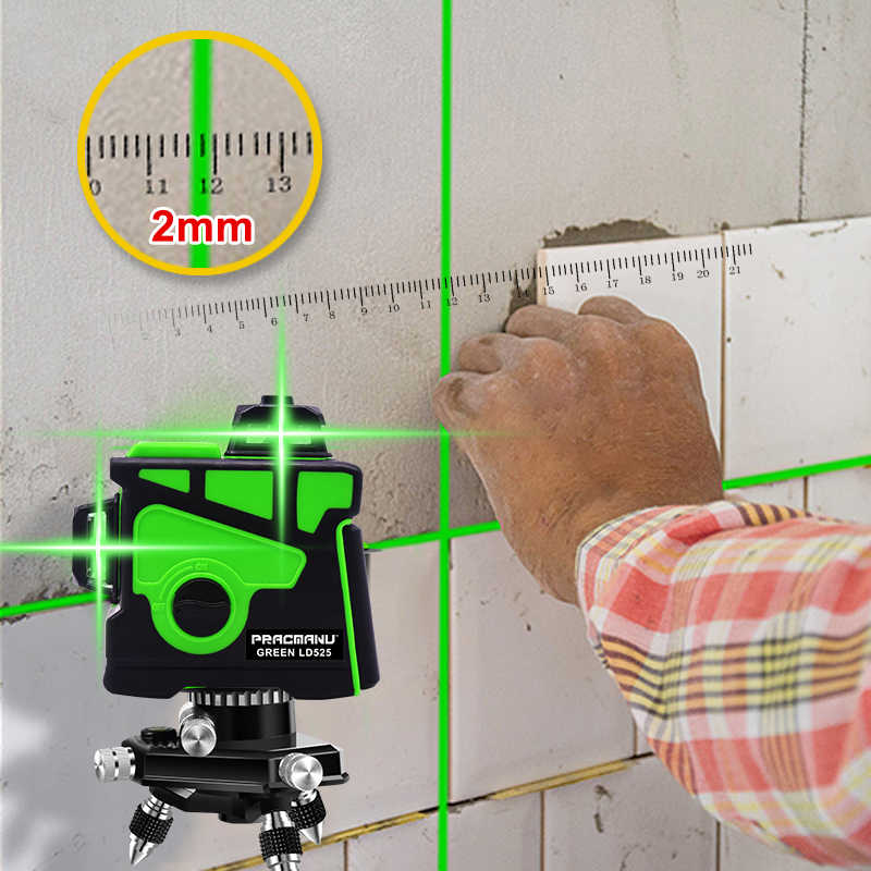 PRACMANU12 hatları 3D yeşil lazer seviyesi yatay ve dikey çapraz hatları otomatik kendini tesviye