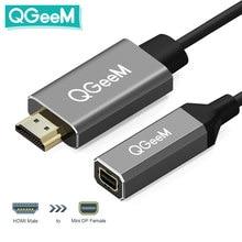 Qgeem hdmi ao mini cabo 4k x 2k hdmi do adaptador do conversor de displayport ao mini adaptador do dp para sistemas equipados hdmi mini dp a hdmi