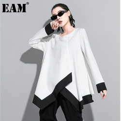 [EAM] Women White Contrast Color Split Big Size T-shirt New Round Neck Long Sleeve  Fashion Tide  Spring Autumn 2021 1DA611