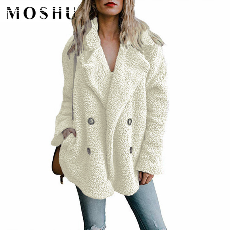 Teddy Coat Woman Lapel Faux Fur Coats Long Sleeve Fluffy Fake Fur Jackets Winter Thick Warm Female Pockets Plus Size Overcoat