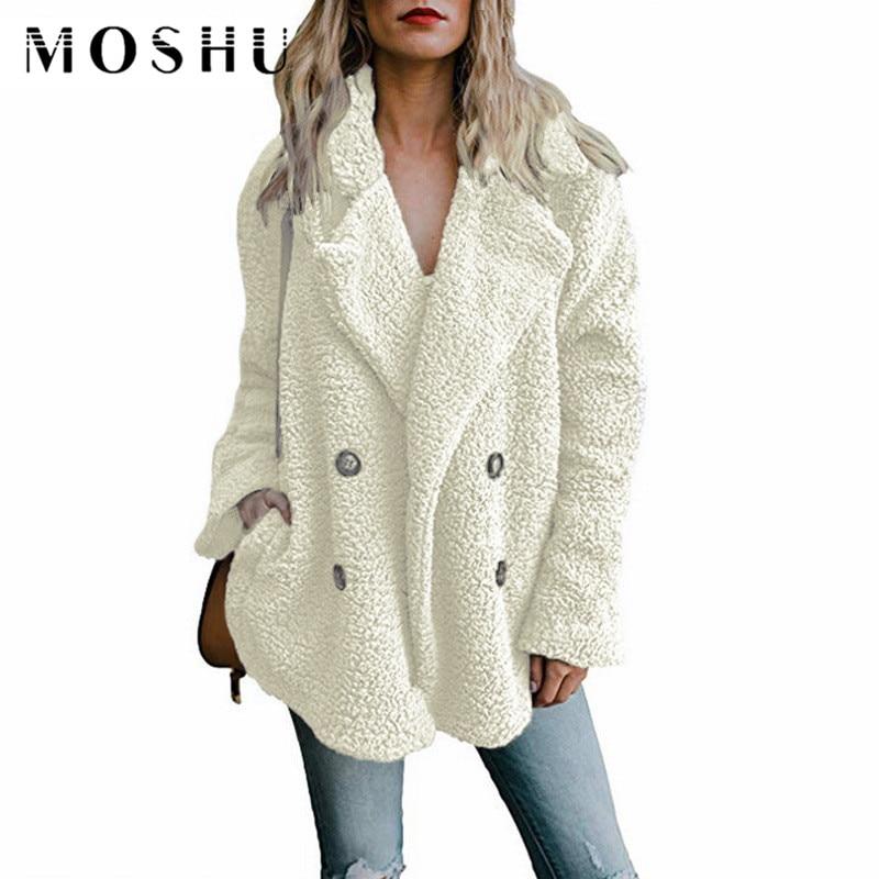 Teddy Coat Woman Lapel Faux Fur Coats Long Sleeve Fluffy Fake Fur Jackets Winter Thick Warm Female Pockets Plus Size Overcoat