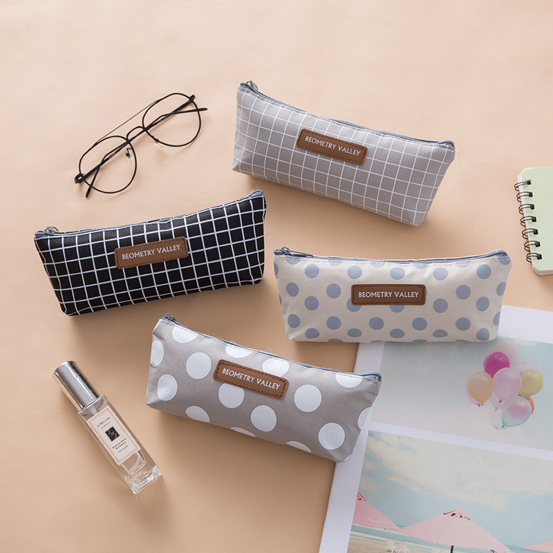 Black Pencil Case School Cute Grid Pencil Cases For Boys Girls Canvas Pencil Box Student Zipper Pen Bag Stationery Office Supply