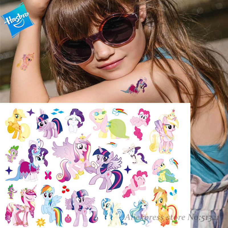 Hasbro My Little Pony Children Cute Cartoon Temporary Tattoo Sticker For Gril Toys Waterproof Birthday Party Kids Gift