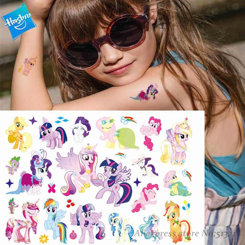 Hasbro My Little Pony Kinderen Leuke Cartoon Tijdelijke Tattoo Sticker Voor Gril Speelgoed Waterproof verjaardagsfeestje Kids Gift