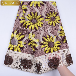 Image 5 - African Wax Lace Fabric Hot Sale Latest Arrival Wax Lace With Guipure Cord Lace Fabric For Nigerian Wedding Party Dress  A1295