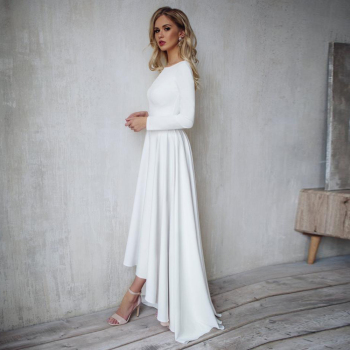 Booma Long Sleeve Soft Satin Wedding Dresses 2020 Open Back  High/Low Beach Boho Bride Gowns A-line Party Dress Plus Size plus size textured long sleeve high low dress