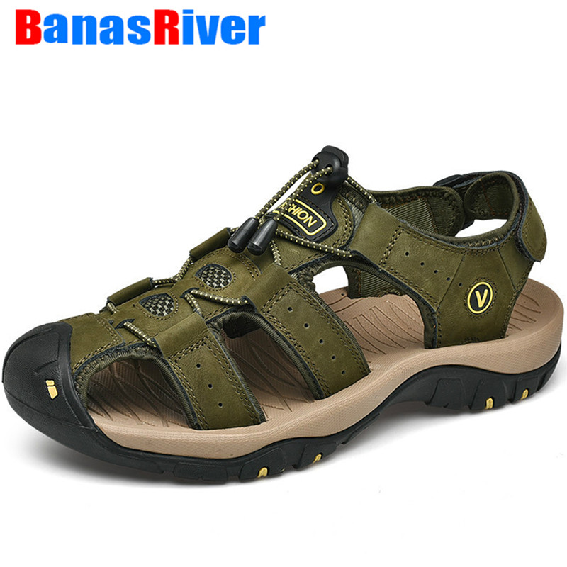 Leather Men's Shoes Summer Sandals Fashion Outdoor Beach Outdoor Walking Flats Hot Sale Moccasins Sneakers Slippers Big Size 48