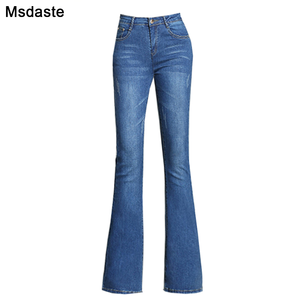 Flare Pants Jeans Women 2019 Spring Slim Wide Leg Ladies Denim Trousers Elastic High Waist Pantalon Jean Femme Woman Jeans