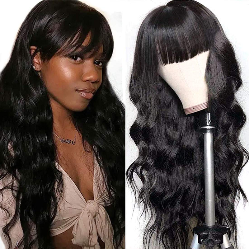 250 Density Brazilian Virgin Body Wave Hair With Bangs Pre Plucked For Women None Lace Front Human Hair Wigs 28 Inch Long Wig