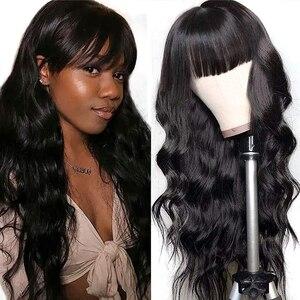 250 densité brésilienne vierge corps vague cheveux avec frange pré plumée pour les femmes aucune dentelle avant cheveux humains perruques 28 pouces longue perruque