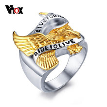 "VNOX Men Ring Polished Stainless Steel Biker Band Jewelry Gold-color Eagle ""LIVE TO RIDE,RIDE TO LIVE"" Engraved in front(China)"