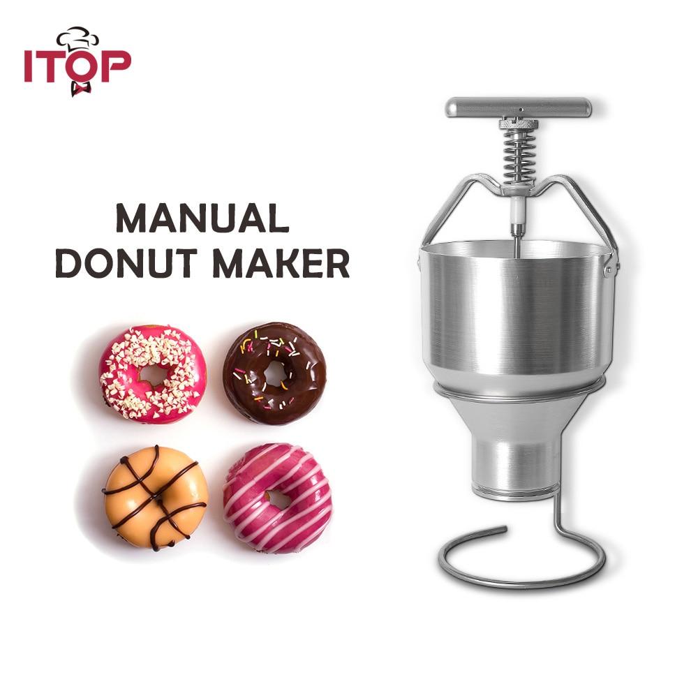 ITOP Stainless Steel 2.5L Donut Maker Waffle Dispenser Donut Mould Snack Machine Manual Food Processor Adjustment Size