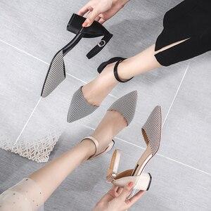Image 3 - 2020 Houndstooth buty kobieta Plus rozmiar tkaniny bawełnianej kwadratowych szpilki wesele eleganckie szpiczasty nosek kostki pasek kobiety obcasy