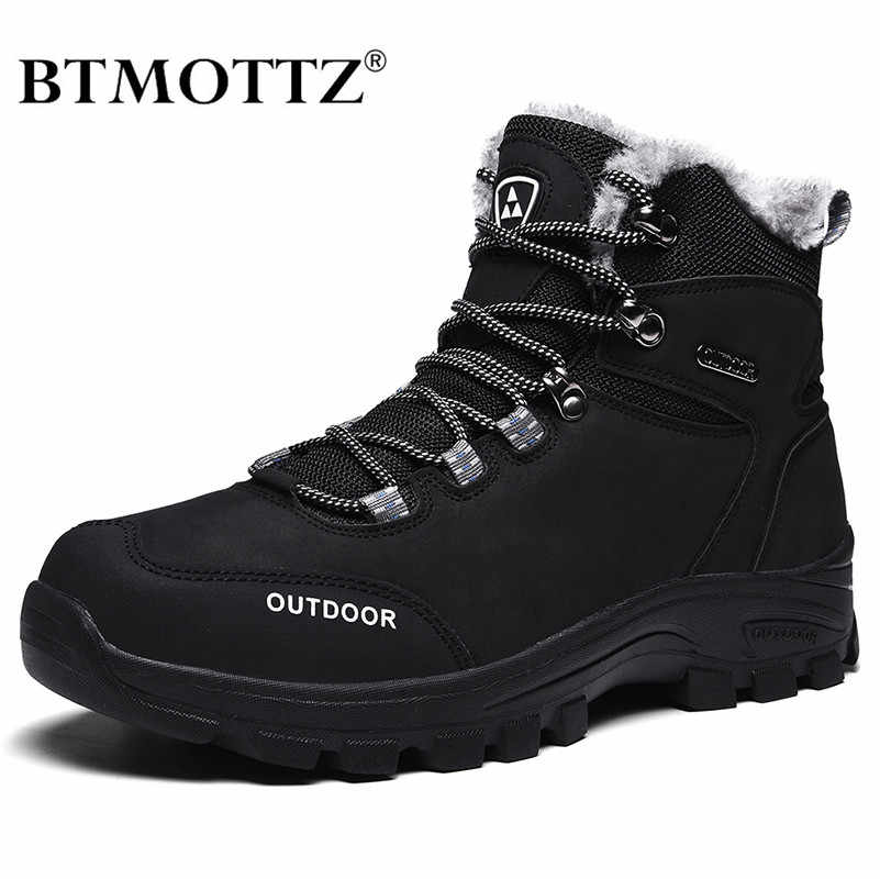 Genuine Leather Men Boots Winter with Fur 2019 Warm Snow Boots Men Winter Work Casual Shoes Military Combat Ankle Boots BTMOTTZ