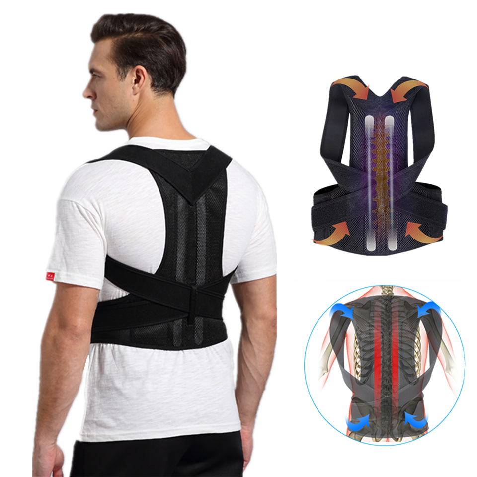 Adjustable <font><b>Humpback</b></font> Spine Posture Corrector Protection Back Shoulder Support Posture Correction Therapy Belt image