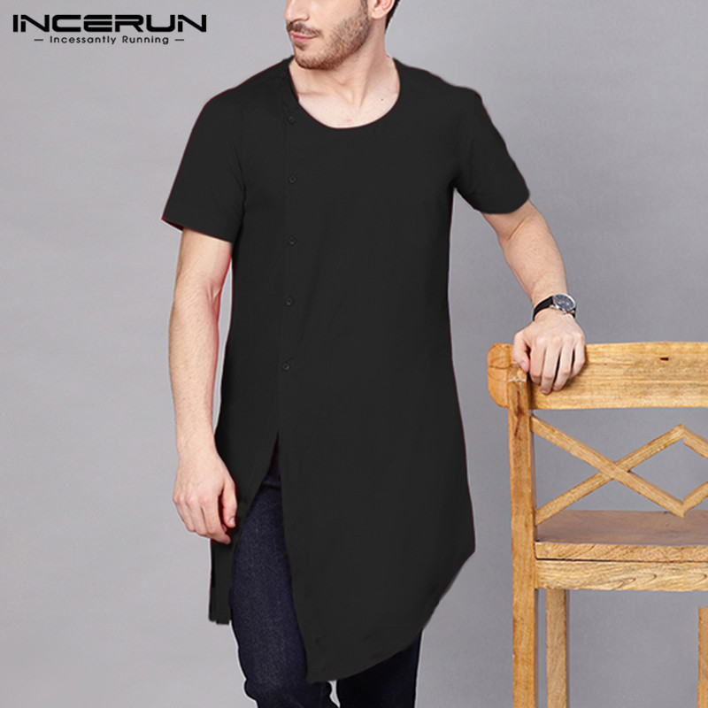 INCERUN Summer Short Sleeve T Shirt Men Round Neck Breathable Streetwear Casual Stylish Irregular T-shirts Men Solid Color Tops