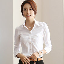 Plus Size 5XL Fashion South Korea Style Blouses Women OL Office Ladies White Shirt Turn Down Neck Frilly Ruffle Cuffs Blusa Tops(China)