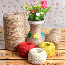 2mm 100M Natural Burlap Hessian Jute Twine String Tag Label DIY Hang Rope Wedding Home Decorative  Crafts Gift Packing Supplies 10m lot 15mm 38mm jute burlap ribbons diy handmade crafts hessian twine rope cords rustic wedding birthday party decoration