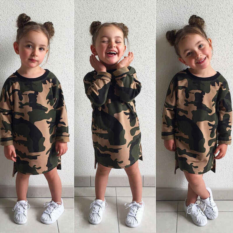 New 2019 Autumn Kids Baby Girls Camouflage Long Sleeve Dress Casual Straight Mini Dresses Clothes 1-6T