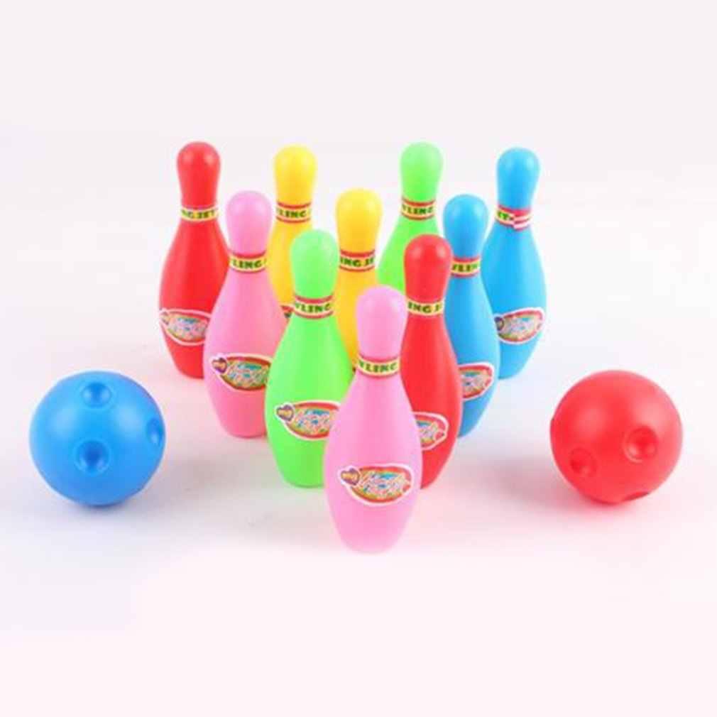 Яркий цвет дети пластиковый боулинг набор мини взаимодействие Досуг развивающие игрушки с шариком и булавками подарок