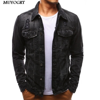 MUYOGRT New Vintage Mens Denim Jacket  Black Blue Bomber Jacket Men Stand Solid Casual Mens Jeans Coat Fashion Stand Clothes