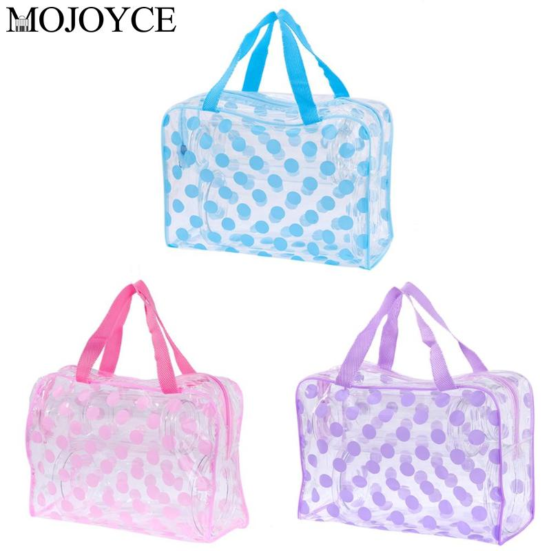 Women Make Up Organizer Clear PVC Cosmetic Bag Travel Shower Wash Storage Handbag Dustproof Storage Bag