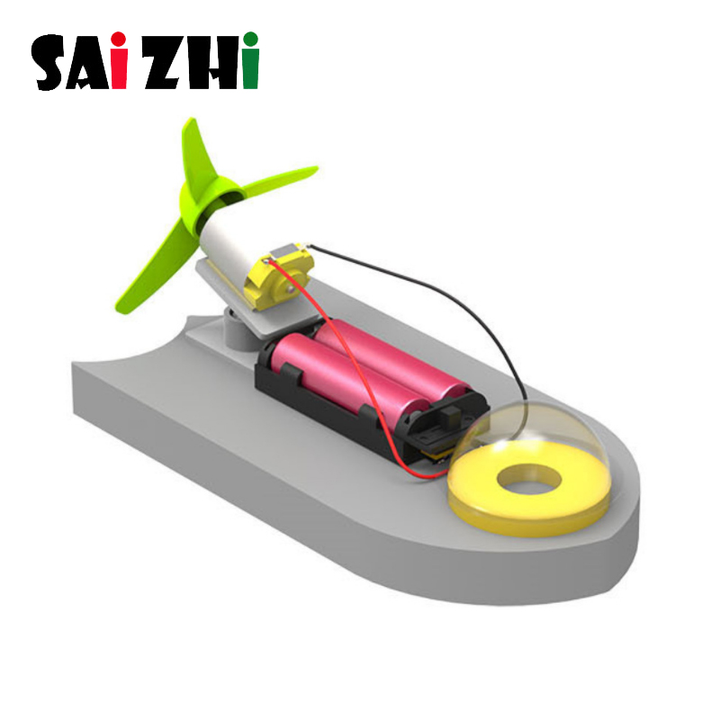 Saizhi DIY Aerodynamic Speedboat Model Kits Electric Yacht Assembly Model Toy Physics Experiment Science Education Toy for Kids
