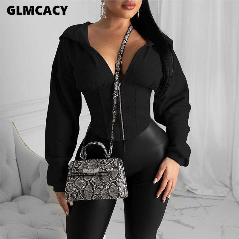 Frauen Herbst Langarm Zip Hoodies Casual Solide Sweatshirt Schlank Korsett Sport Workout Gym Jacke