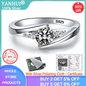 YANHUI With Certificate 0.75ct Lab Diamond Rings For Women Party Elegant Bridal Jewelry 925 Silver Wedding Engagement R036 - discount item  90% OFF Fine Jewelry