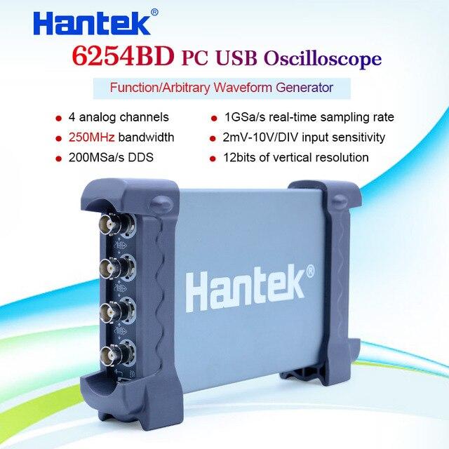 Oscilloscoop Digitale USB Hantek 6254BD 250mhz Pc gebaseerde 4 Kanalen 250MHz USB Oscillograph met 25MHz Signaal Generator