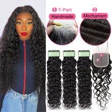 Brazilian Water Wave Bundles With Closure T Part 1X4 HD Lace Closure Weaves Human Hair With Closures Bundles Wholesale Vendor