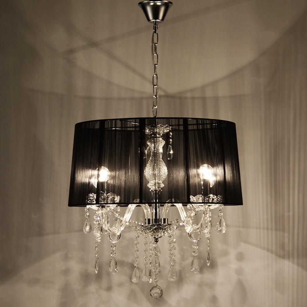 European Style Living Room Fabric Crystal Chandelier Luxury Atmosphere Bedroom Study Restaurant Chandelier