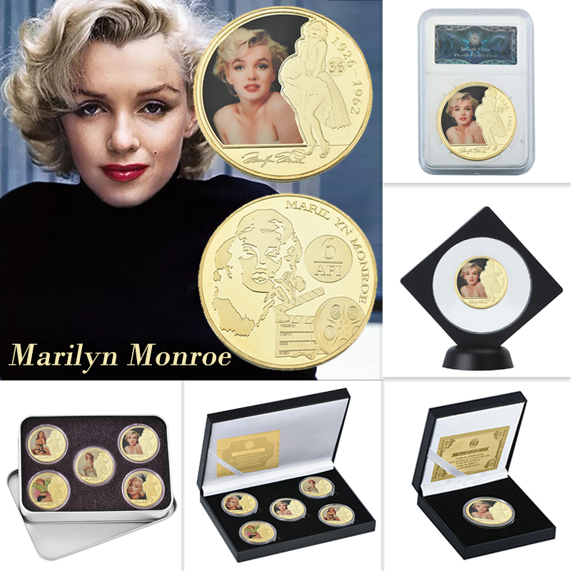 WR Мэрилин Монро золотые коллекционные монеты с держателем монет на заказ вызов монеты антикварные оригинальные монеты подарочный набор др...