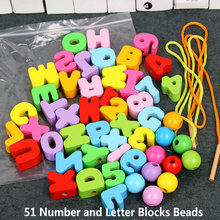 Jewelery-Making Toys Beads Wood Educational Girl Children's Letter Blocks Gifts Arts
