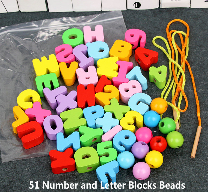 31/41/51pcs Number Letter Blocks Beads 3 Styles,Children's Jewelery Making Utilities Wood Bead Toys,girl Educational Arts Gifts