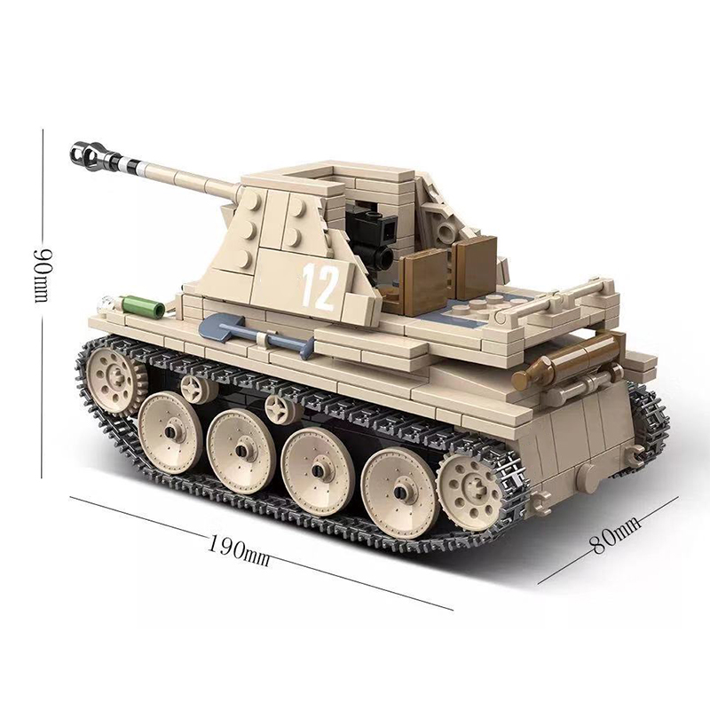 Image 5 - 608PCS German Weasel self anti tank gun Tank Building Blocks Assemble  WW2 Military Tank Army Soldier Weapon parts Bricks ToysBlocks   -