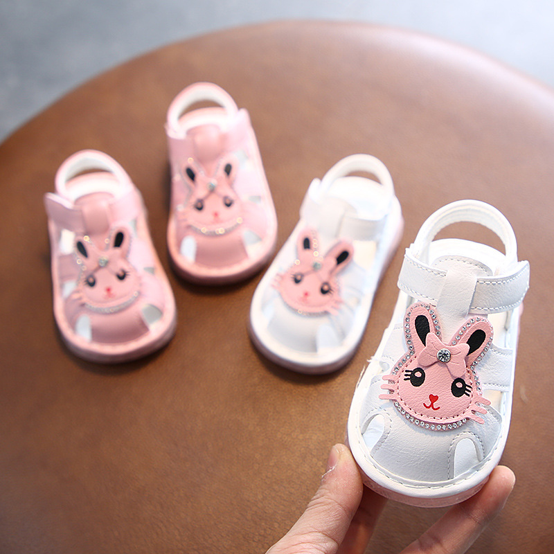 2020 Summer Led Light Baby Girl Sandals 0-2 Years Old Toddler Girl Shoes Pink White Color 11.5cm-13.5cm