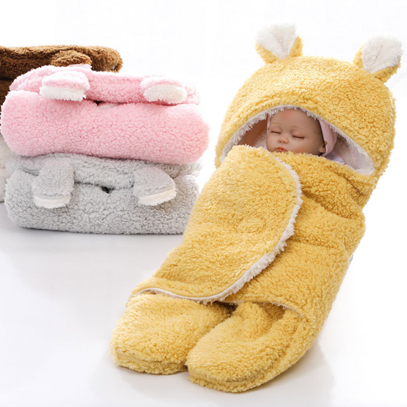 Baby Blanket Newborn Baby Cute Bear Solid Colors Warm  Receiving Sleeping Blanket Boy Girl Thick Wrap Swaddle Sleeping