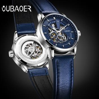 2019 Men Watch Original OUBAOER Top Brand Luxury Automatic Mechanical Watch Leather Military Watches Clock Men Relojes Masculino