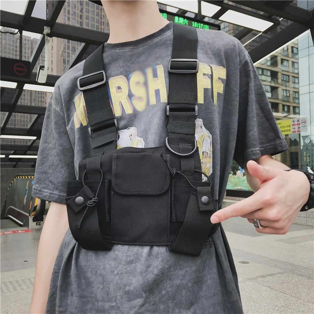 Tactical Bag Men Oxford Chest Rig Bag Hip Hop Streetwear Functional Boy Chest Rig Kanye West Wist Pack Tactical Waist Pack Sac