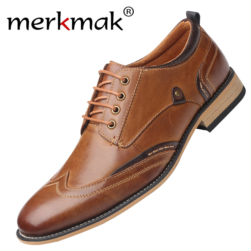 Merkmak Men Casual Shoes Genuine Cow Leather Men Laceup Dress Shoes Business Formal Footwear Big Size Party Wedding Footwear