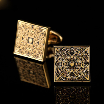 Cufflinks Men's Business Banquet Wedding Daily Leisure Suit Accessories Gifts Gold Square Pattern French Shirt Cuff Links Trendy 3